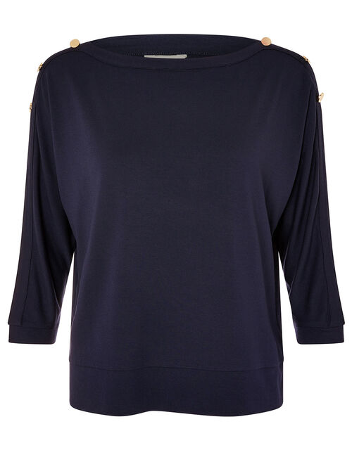 Pryla Long Sleeve Top with LENZING™ ECOVERO™, Blue (NAVY), large