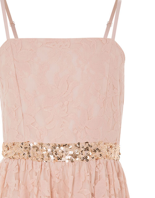 Lace Hanky Hem Prom Dress, Pink (PINK), large