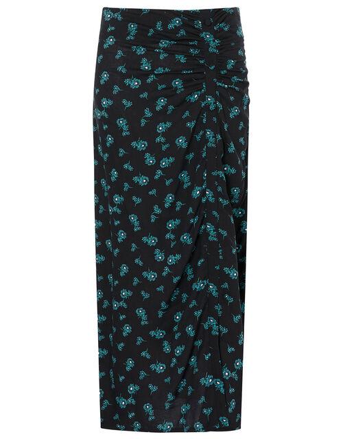 Ditsy Floral Ruched Midi Skirt, Black (BLACK), large