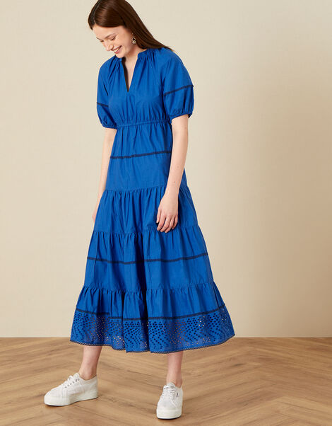 Tiered Midi Dress in Pure Cotton Blue, Blue (COBALT), large