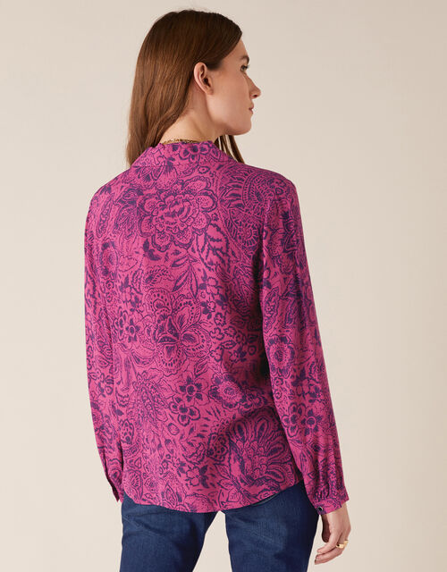 Paisley Print Blouse with LENZING™ ECOVERO™, Pink (PINK), large