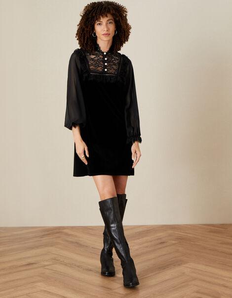 Bianca Lace Bib Velvet Dress Black, Black (BLACK), large