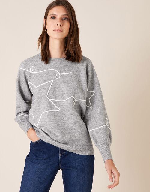 Cornelli Star Knit Jumper, Grey (GREY MARL), large