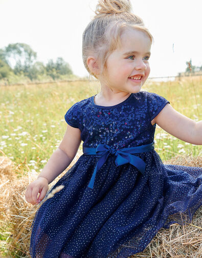 Baby Paige Sequin Dress Blue, Blue (NAVY), large