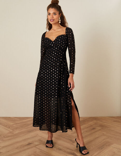 Bree Sweetheart Sequin Dress in Sustainable Viscose Black, Black (BLACK), large