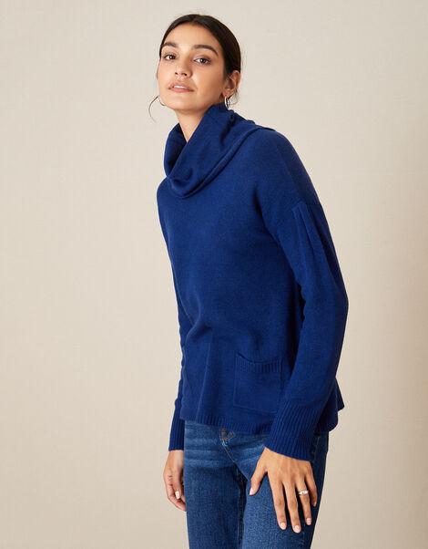 Cowl Neck Cosy Jumper  Blue, Blue (COBALT), large
