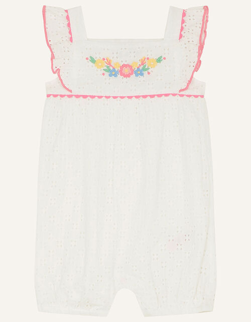 Newborn Floral Broderie Romper, White (WHITE), large