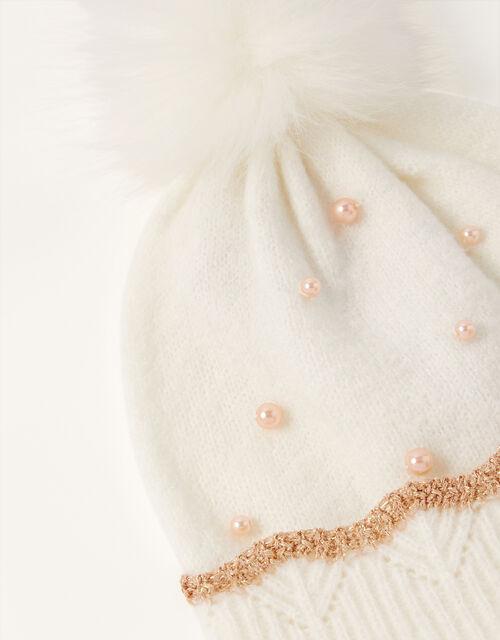 Rosie Pearly Pom-Pom Beanie, Ivory (IVORY), large