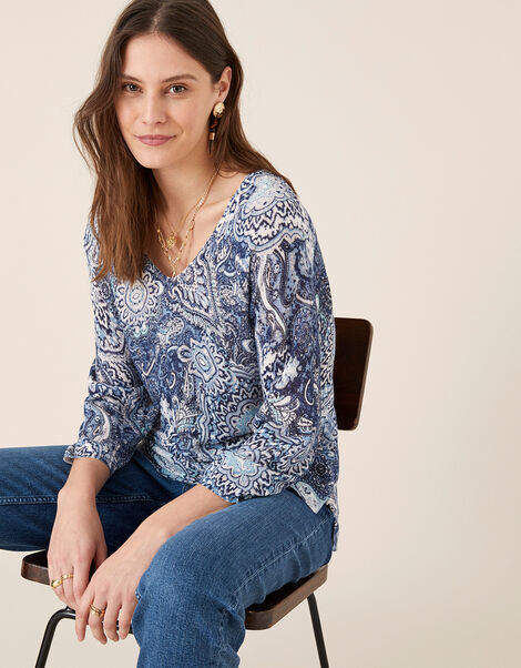 Paisley Print Jumper in Linen Blend Blue, Blue (NAVY), large