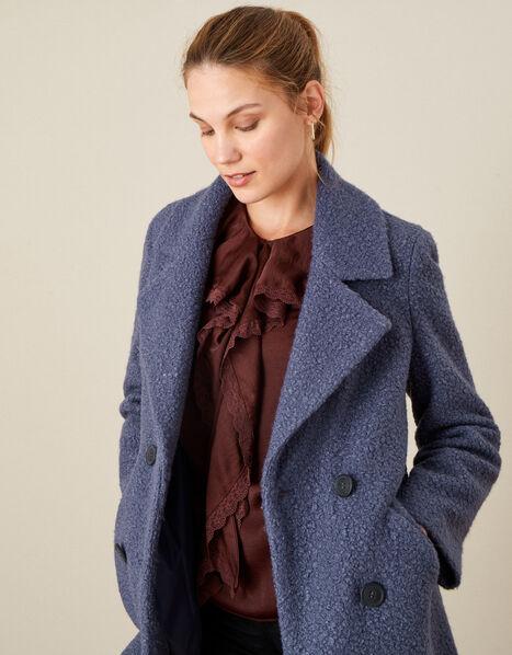 Betsy Boucle Coat Blue, Blue (BLUE), large