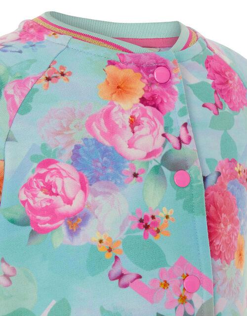 Floral Print Bomber Jacket, Blue (TURQUOISE), large