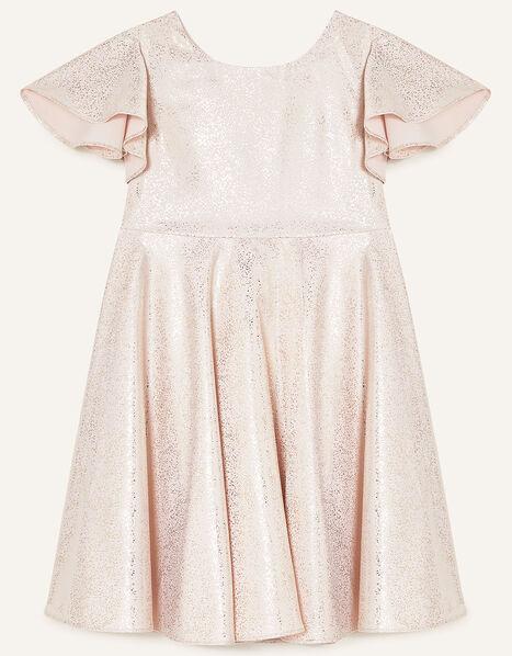 Foil Spot Flutter Sleeve Dress Gold, Gold (ROSE GOLD), large