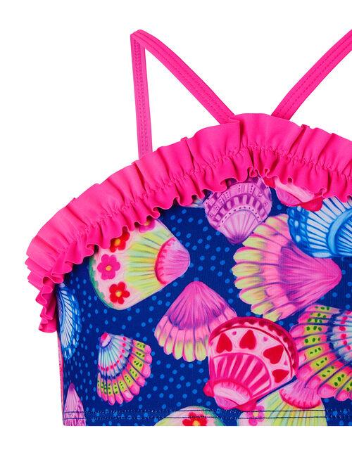 Shell Print Frill Bikini Set, Blue (NAVY), large