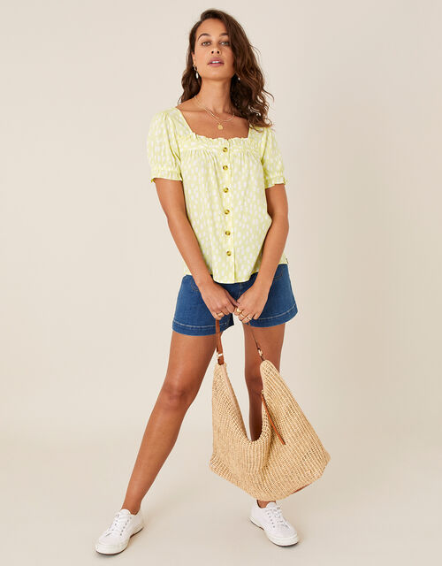 Printed Puff Sleeve Top in LENZING™ ECOVERO™, Yellow (YELLOW), large