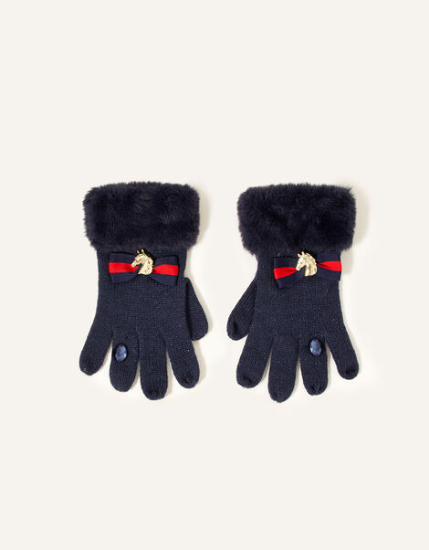 Eleanor Bow Ring Gloves  Blue, Blue (NAVY), large