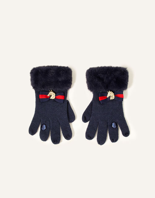 Eleanor Bow Ring Gloves , Blue (NAVY), large