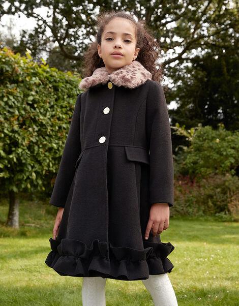 Leopard Print Collar Ruffle Hem Coat  Black, Black (BLACK), large