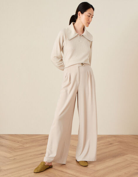 Wendy Wide Leg Trousers Natural, Natural (STONE), large