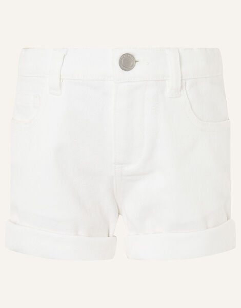 Denim Shorts White, White (WHITE), large