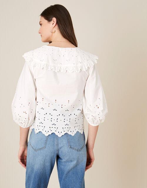 ARTISAN STUDO Poplin Statement Collar Blouse , White (WHITE), large