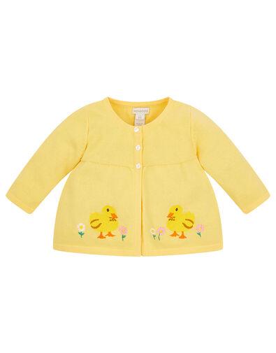 Newborn Embroidered Chick Cardigan Yellow, Yellow (YELLOW), large