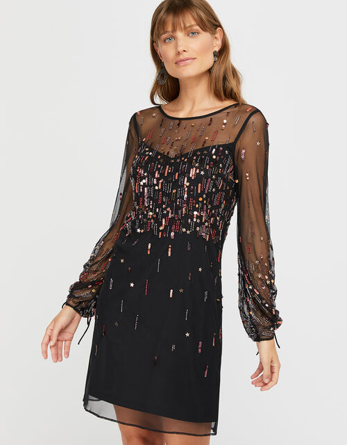 Stephanie Star Embellished Short Dress, Black, large