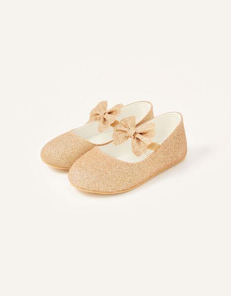 Glitter Bow Walker Shoes  Gold, Gold (ROSE GOLD), large