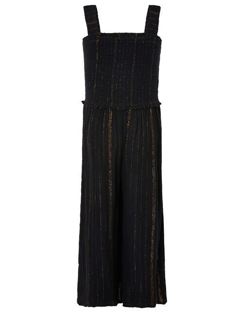 Shirred Sparkle Jumpsuit, Black (BLACK), large