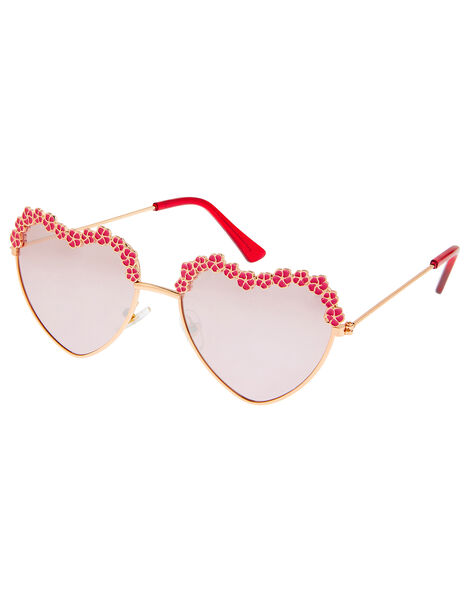 Flower and Heart Aviator Sunglasses, , large