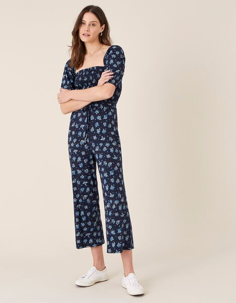 Floss Printed Jumpsuit with Organic Cotton Blue, Blue (NAVY), large