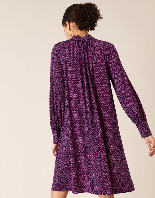 Geo Print Short Jersey Dress, Pink (PINK), large