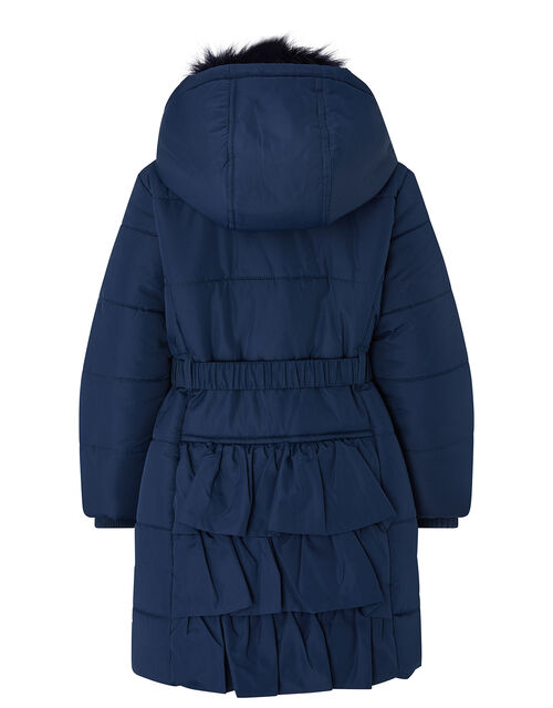 Ruffle Belted Padded Coat with Recycled Fabric, Blue (NAVY), large