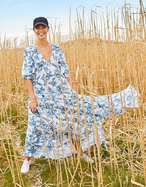 Roxanna Floral Tiered Maxi Dress Blue, Blue (BLUE), large