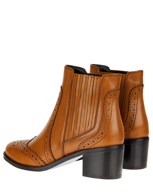 Brogue Leather Ankle Boots, Tan (TAN), large