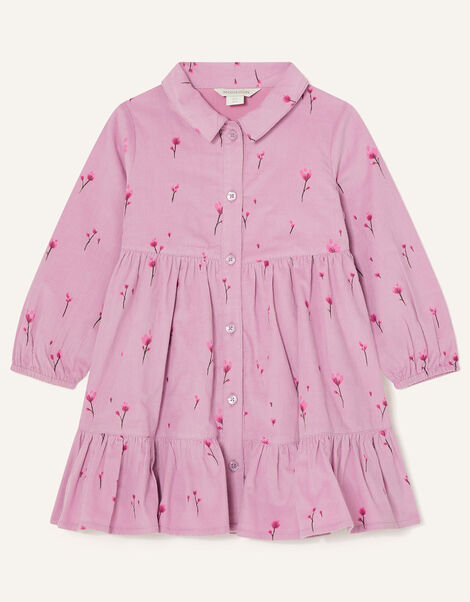 Baby Floral Cord Shirt Dress Purple, Purple (LILAC), large