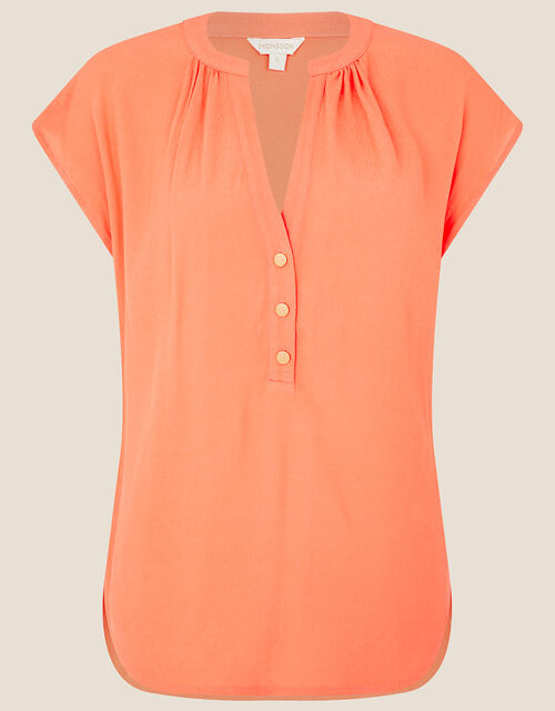Waverly Button Detail Top , Orange (CORAL), large