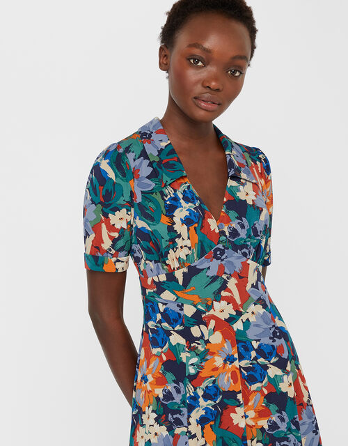 Bettina Floral Print Jersey Dress, Blue, large