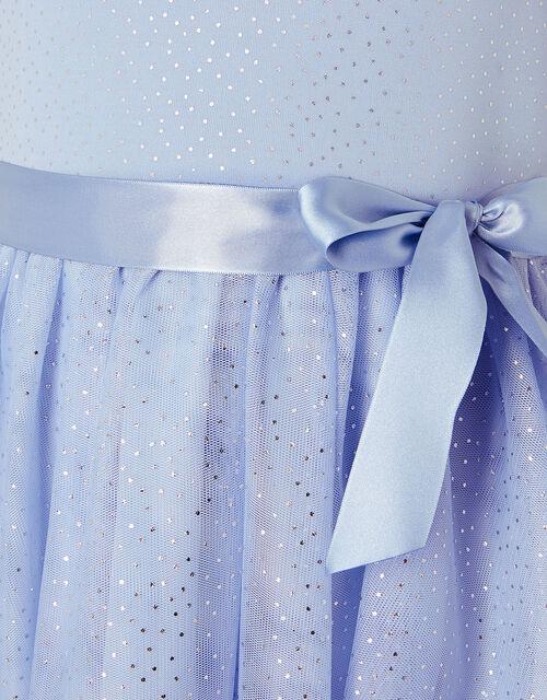 Foil Print Sleeveless Dress , Blue (PALE BLUE), large