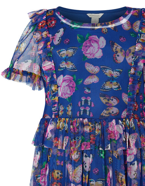 Britney Butterfly Mesh Dress in Recycled Polyester, Blue (NAVY), large