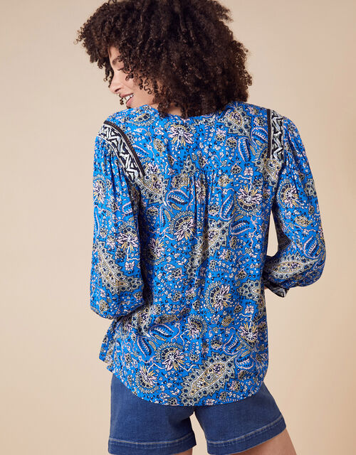 Paisley Print Top in LENZING™ ECOVERO™, Blue (BLUE), large