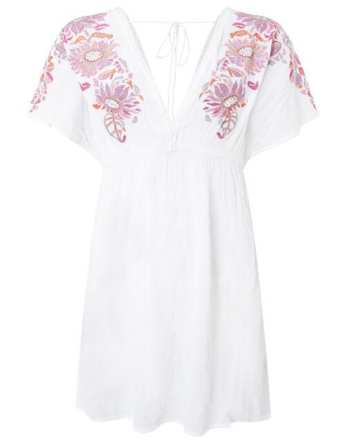 Embroidered Kaftan Dress in LENZING™ ECOVERO™ , Ivory (IVORY), large