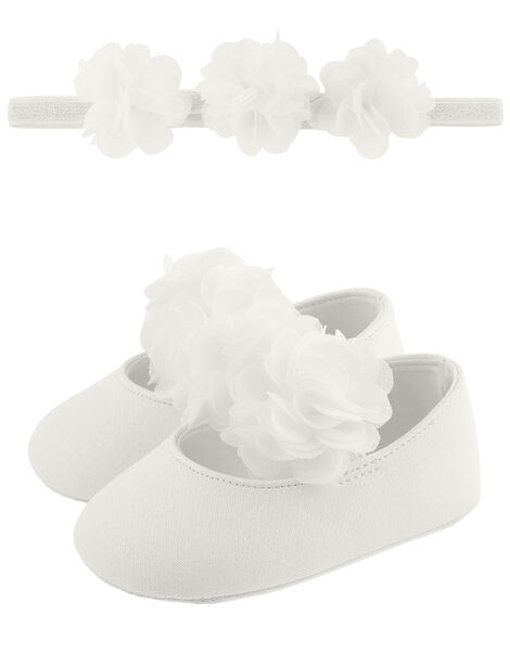 Baby Macaroon Corsage Bando and Bootie Set Ivory, Ivory (IVORY), large