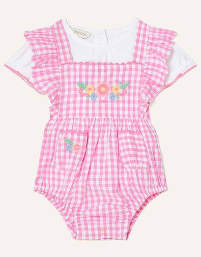 Newborn Floral Gingham Romper Set Pink, Pink (PINK), large