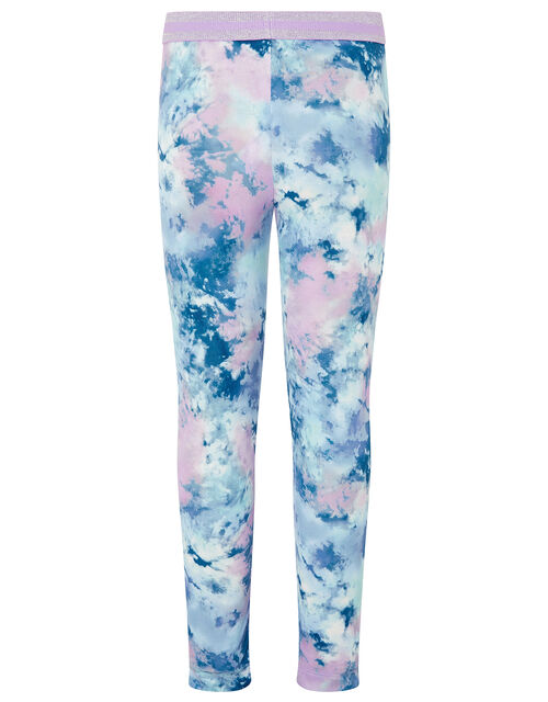 Tie Dye Print Leggings, Blue (BLUE), large