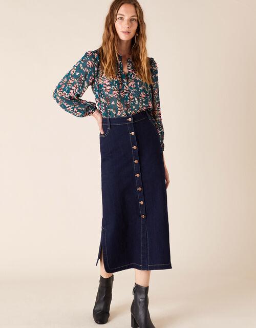 Denim Midi Skirt in Organic Cotton, Blue (DENIM BLUE), large
