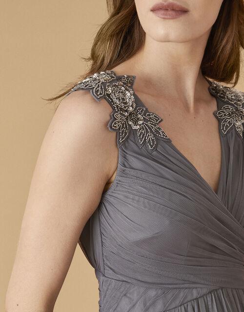 Mischa Embellished Tulle Maxi Dress, Grey (GREY), large