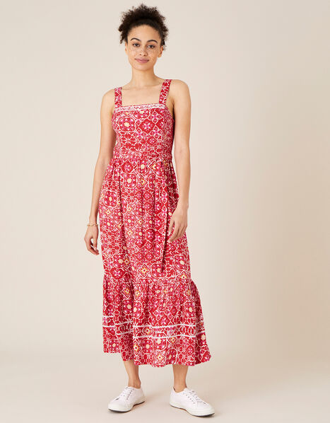 Ebony Printed Sundress in LENZING™ ECOVERO™  Red, Red (RED), large