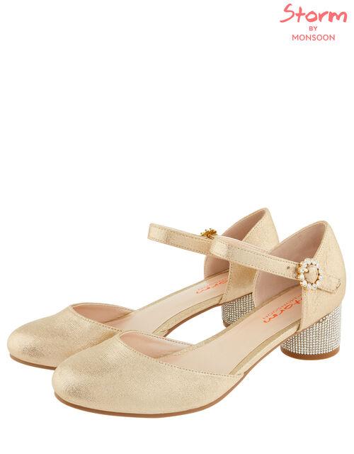 Abigail Diamante Heel Shoes, Gold (GOLD), large