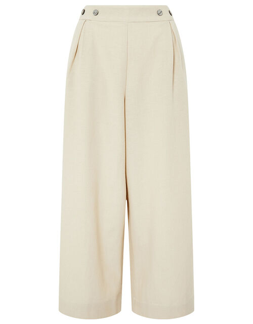 Cropped Trousers in Linen Blend, Natural (NATURAL), large