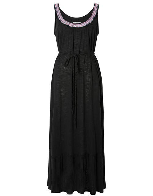 Embroidered Neck Jersey Dress in , Black (BLACK), large